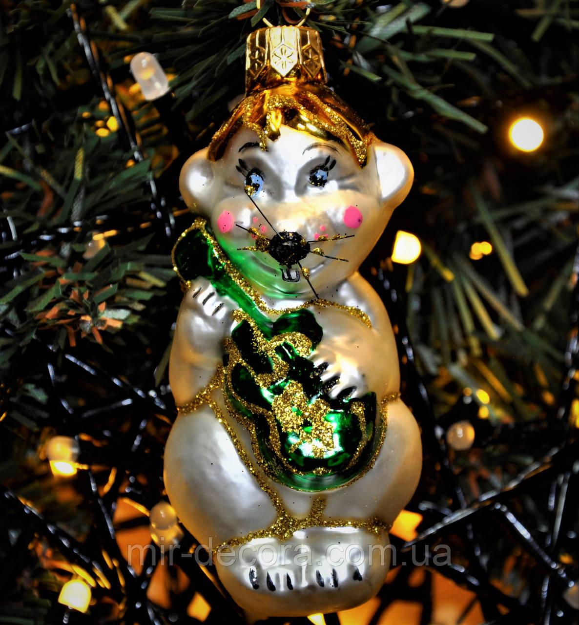 """Игрушка новогодняя стеклянная """"Мышь с гитарой"""". Размер 10 см."""