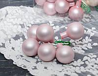 Новогодние стекл. шарики 3 см на проволоке 6 шт