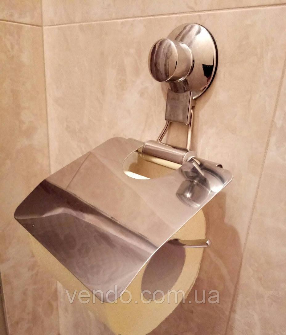 Держатель для туалетной бумаги с крышкой на вакуумной присоске хром