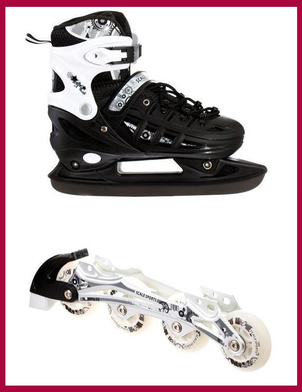 Детские Ролики+коньки Scale Sport. Черный цвет (2в1), размер 29-33