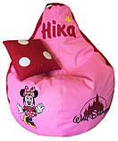 Бескаркасный пуф Кресло-груша пуфик для детей Минни Маус именной, фото 8