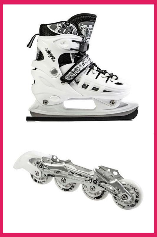 Детские Ролики+коньки Scale Sport. Белый цвет (2в1), размер 29-33