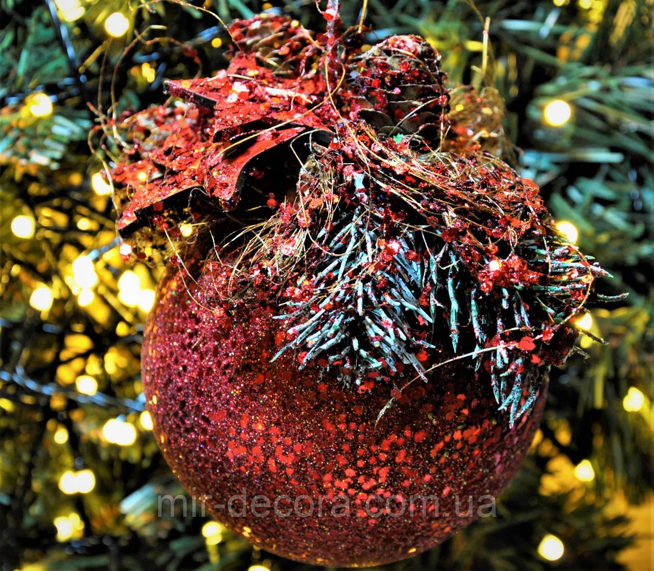"""Новогодний шар с декором пластиковый """"Красный"""" 100 мм"""