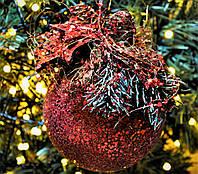 """Новогодний шар с декором пластиковый """"Красный"""" 100 мм, фото 1"""
