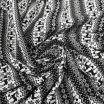 Трикотаж на меху принт олени (черный мех), фото 3
