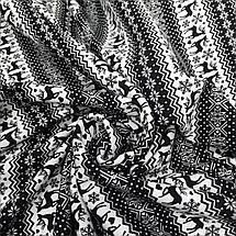 Трикотаж на меху принт олени (черный мех), фото 2