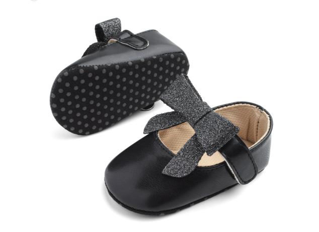 Пінетки-туфлі Блискучий бант чорні 11
