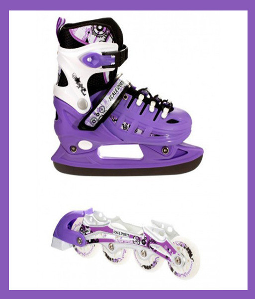 Детские Ролики+коньки Scale Sport. Фиолетовый цвет (2в1), размер 29-33.