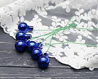 Новорічні стекл. кульки 1,5 см на дроті 6 шт глянсовий