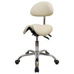 Стул-седло для мастера № 4008-1 с разделенным сидением, со спинкой..