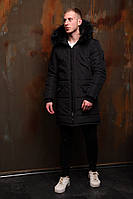 Куртка парка мужская зимняя ASOS длинная черная
