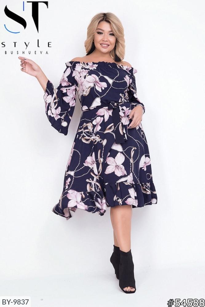 Стильное платье     (размеры 48-54) 0215-98