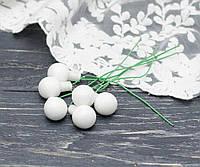 Новорічні стекл. кульки 1,5 см на дроті 6 шт матові