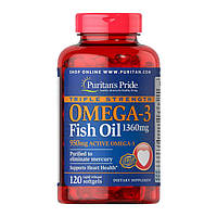 Рыбий жир, Омега Puritans Pride Triple Strength Omega-3 1360mg, 120 softgels, фото 1
