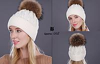 Женская вязаная шерстяная шапка с бубоном FLB белая