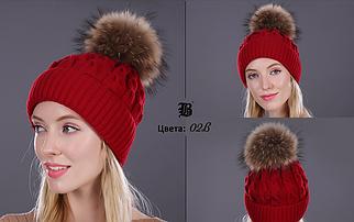 Женская вязаная шерстяная шапка с бубоном FLB Красный