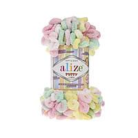 Пряжа с петлями петельками Alize Puffy Color 5862 (Ализе Пуффи Колор Алізе Пуффі)для вязания без спиц руками