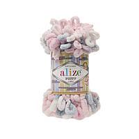 Пряжа с петлями петельками Alize Puffy Color 5864 (Ализе Пуффи Колор Алізе Пуффі)для вязания без спиц руками