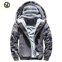 Худи кофта бомбер куртка батник с мехом на меху (серый камуфляж ) 004