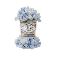 Пряжа с петлями петельками Alize Puffy Color 5865 (Ализе Пуффи Колор Алізе Пуффі)для вязания без спиц руками