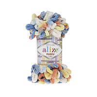 Пряжа с петлями петельками Alize Puffy Color 5866 (Ализе Пуффи Колор Алізе Пуффі)для вязания без спиц руками