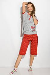 Пижама женская 107P016 (Серо-красный)
