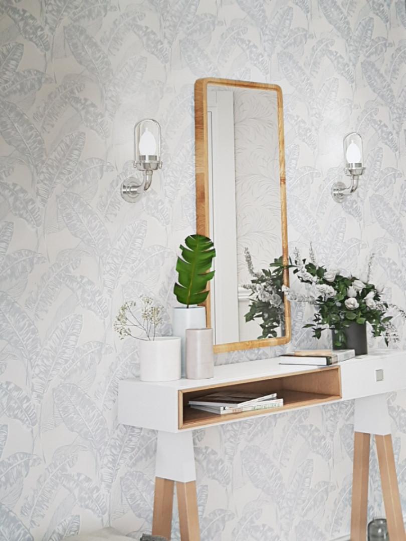 Обои виниловые на флизелине Marburg 82115 Felicita листья папоротника серые белые на молочном фоне