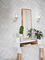 Обои виниловые на флизелине Marburg 82115 Felicita листья папоротника серые белые на молочном фоне, фото 1