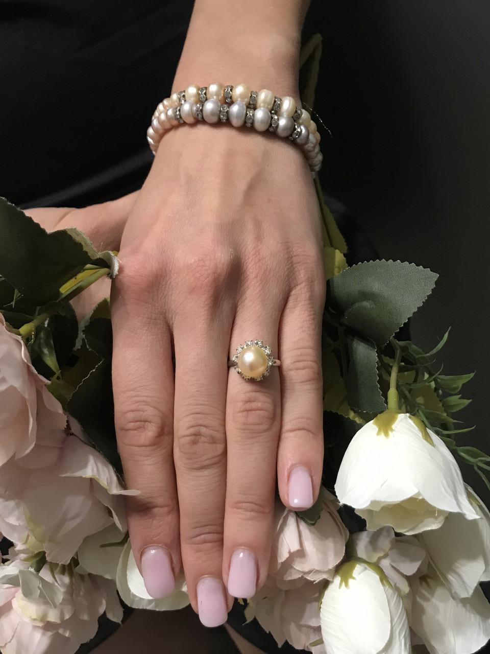 Браслет+кольцо набор из натурального жемчуга
