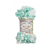 Пряжа с петлями петельками Alize Puffy Color 5920 (Ализе Пуффи Колор Алізе Пуффі)для вязания без спиц руками