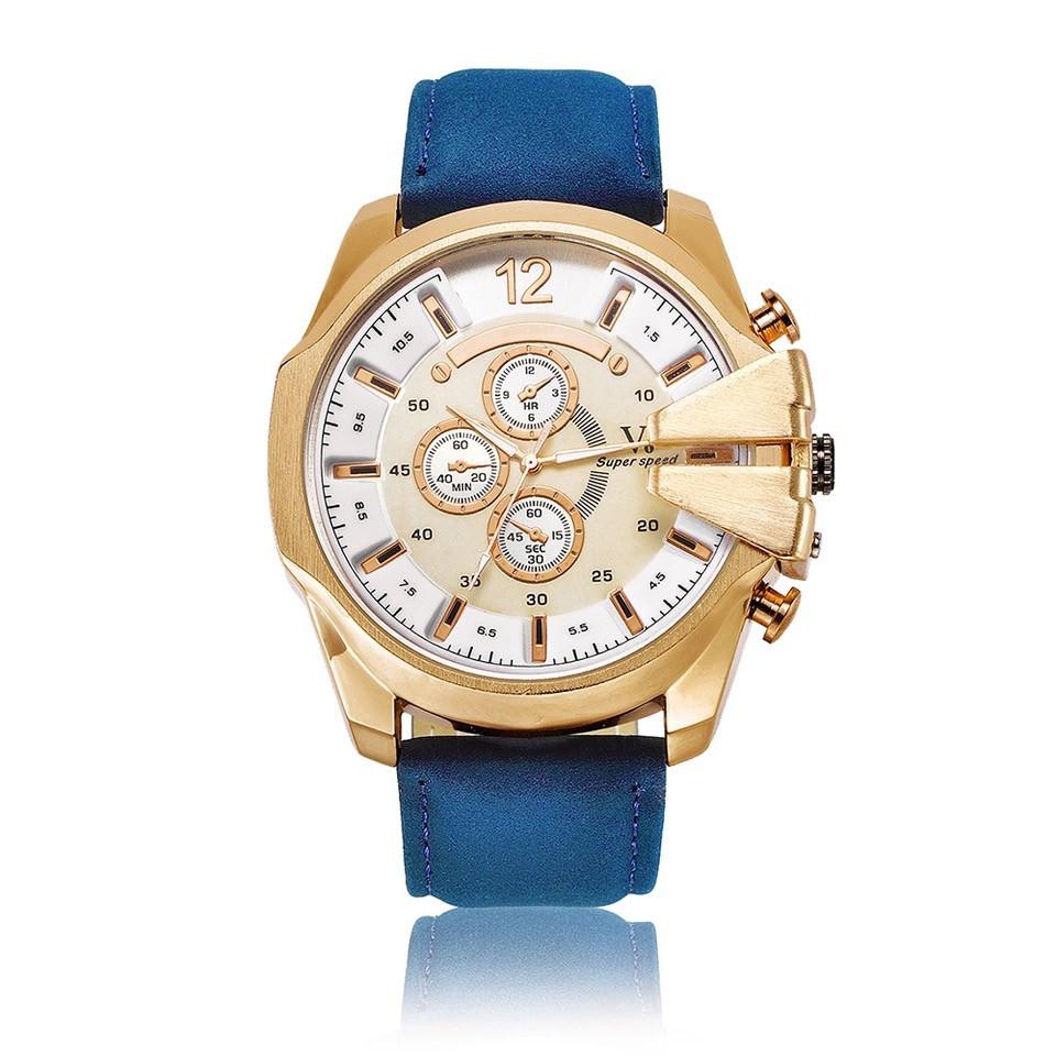 Кварцевые стильные часы V6 с белым циферблатом