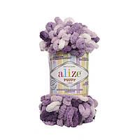 Пряжа с петлями петельками Alize Puffy Color 5923 (Ализе Пуффи Колор Алізе Пуффі)для вязания без спиц руками