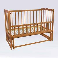 Кроватка деревян. маятник - откидной бортик Сон (1) ольха - цвет светло-коричневый - 180441