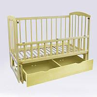 Кроватка деревян. маятникшухляда - откидной бортик Спим (1), ольха - цвет слоновая кость - 180443