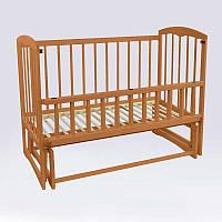 Кроватка детская Спим маятник, откидной борт, ольха - цвет светло-коричневый - 180449