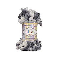 Пряжа с петлями петельками Alize Puffy Color 5925 (Ализе Пуффи Колор Алізе Пуффі)для вязания без спиц руками