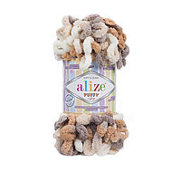 Пряжа с петлями петельками Alize Puffy Color 5926 (Ализе Пуффи Колор Алізе Пуффі)для вязания без спиц руками