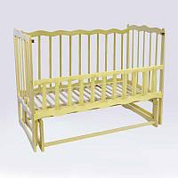 Кроватка деревян. маятник - откидной бортик Волна (1) ольха - цвет слонова кость - 180436