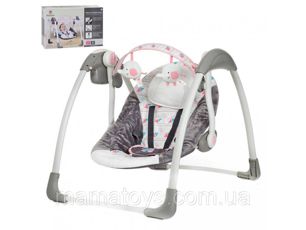 Дитячі Гойдалки люлька 6504 Рожевий Mastela Музика, таймер, 5 швидкостей, дуга з підвісками, 2 положення