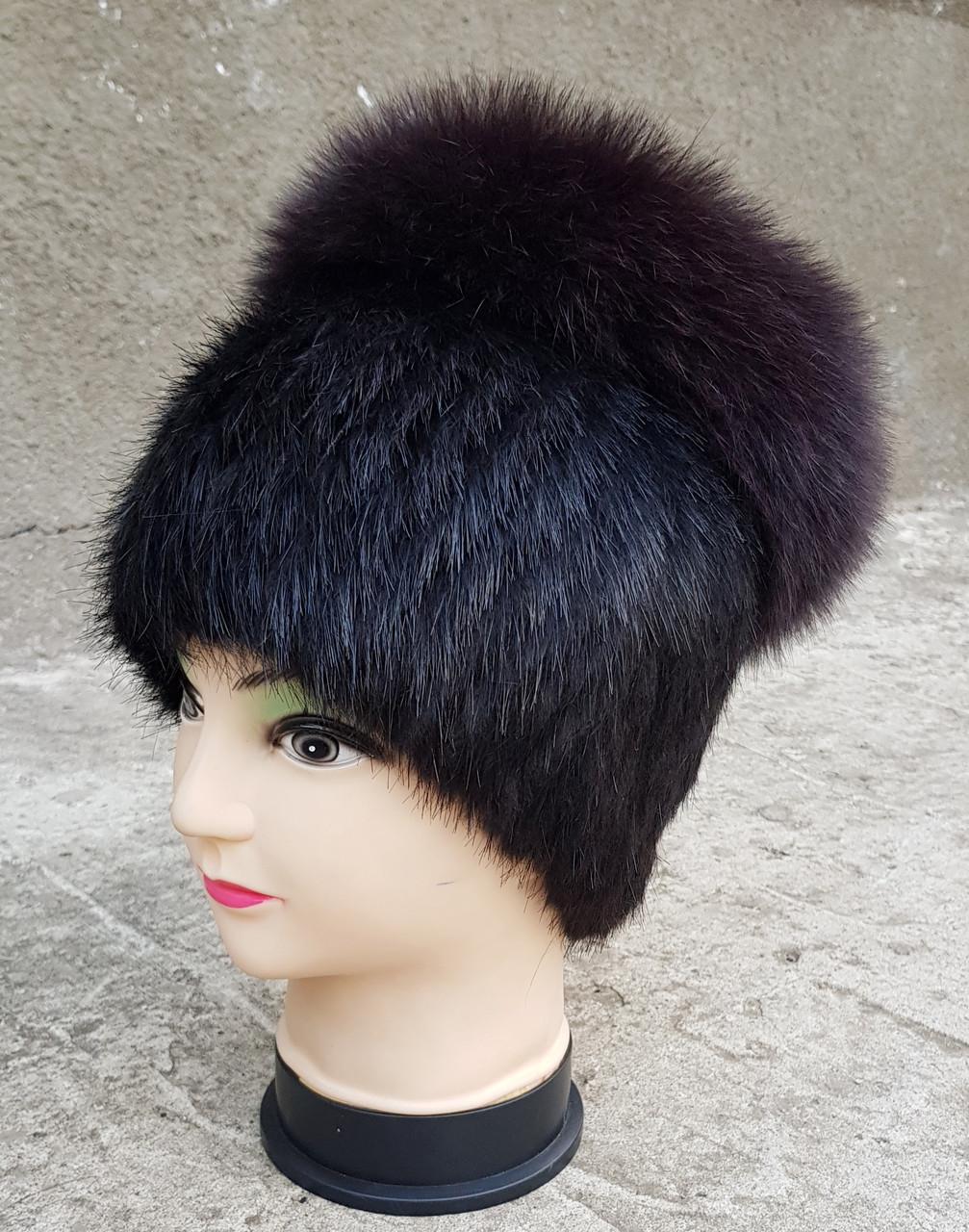 Женская меховая шапка Klaus Кубанка Нутрия с песцом 55-58 Темно-коричневый(18/77)