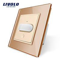 Сенсорный выключатель с датчиком движения Livolo золото стекло (VL-C701RG-13), фото 1