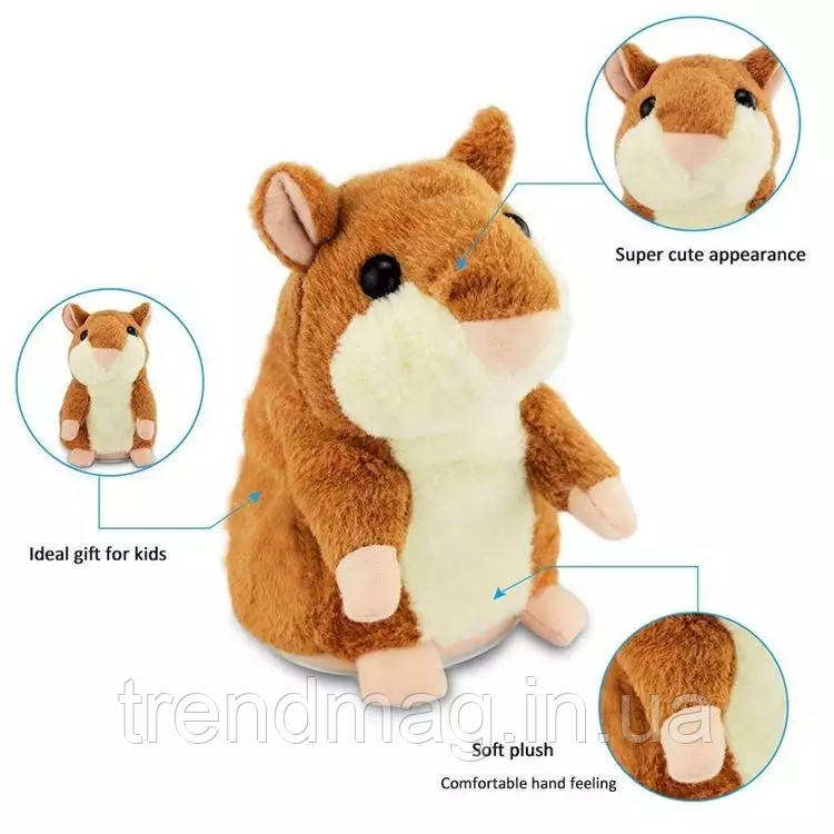 Интерактивная игрушка говорящий хомяк повторюшка коричневый