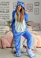 Пижама Кигуруми Стич синий для детей от 110 см и взрослых, женская и мужская из качественного велсофта