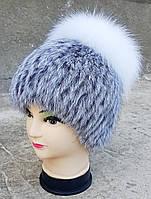 Женская меховая шапка Klaus Кубанка Кролик с Блюфростом 55-58 Светло-серый(18/79)