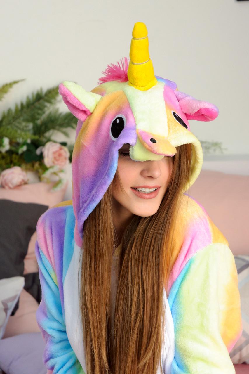 Кигуруми пижама Радужный единорог для детей и взрослых ...