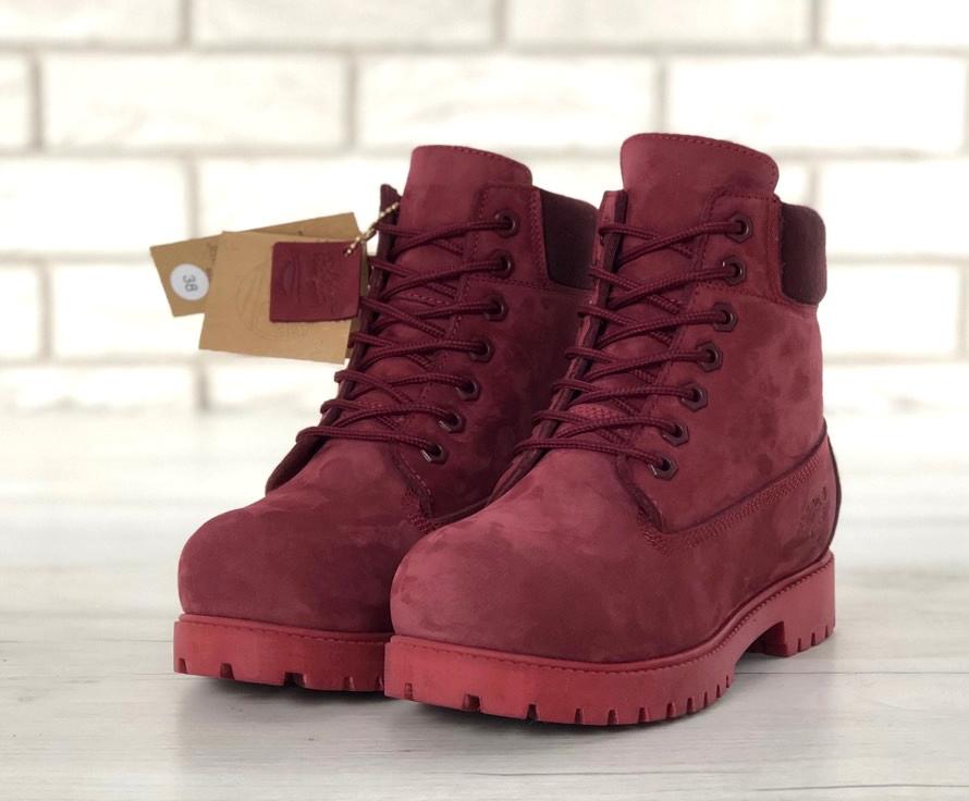 Ботинки женские Timberland 6-Inch Boots бордовые зимние на меху теплые