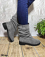 Замшевые серые зимние полусапожки на небольшом каблуке, фото 1