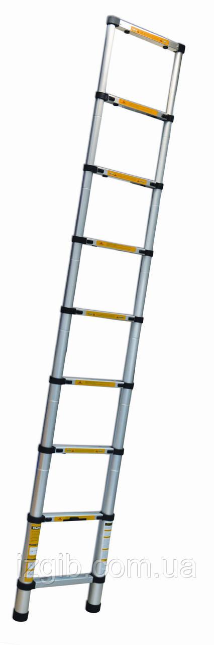 Стремянка алюминиевая телескопическая 13 ступеней (Н 3,81м; 10,6кг)