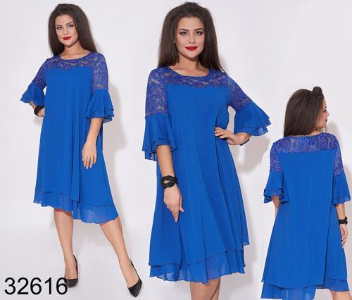 Вечернее свободное платье из шифона рукава с рюшами р 50-52,54-56,58-60,62-64