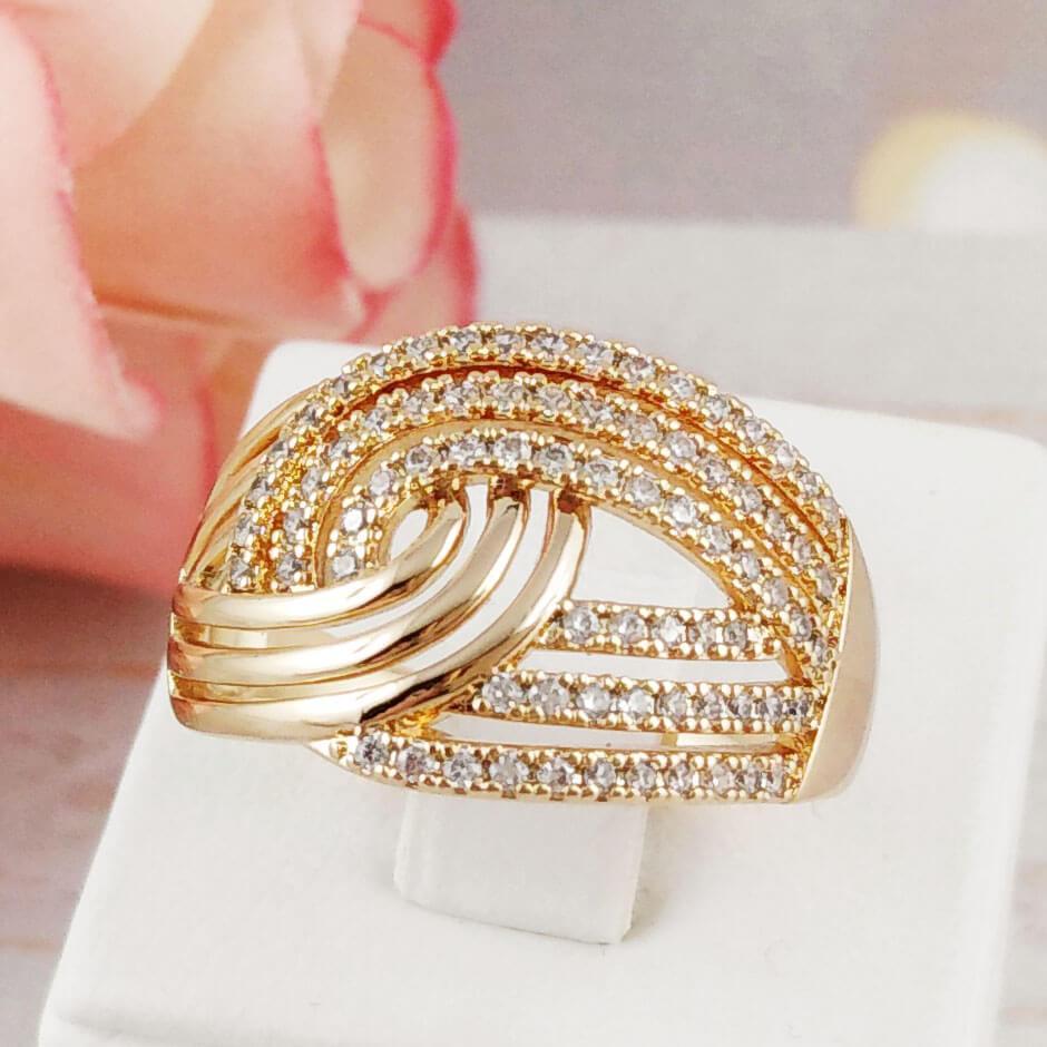 """Кольцо Xuping Jewelry размер 19 """"Диана"""" медицинское золото позолота 18К. А/В 4508"""